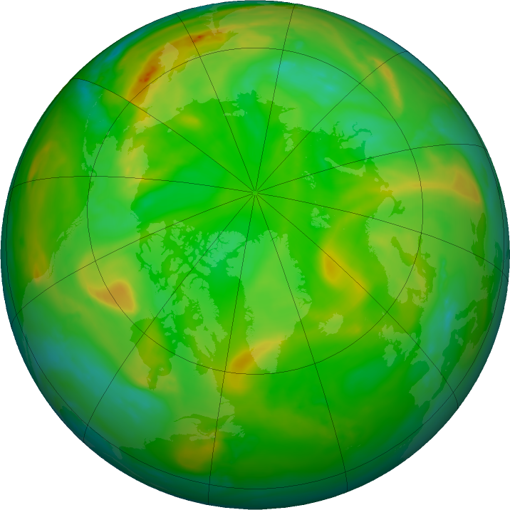 Arctic ozone map for 01 July 2019