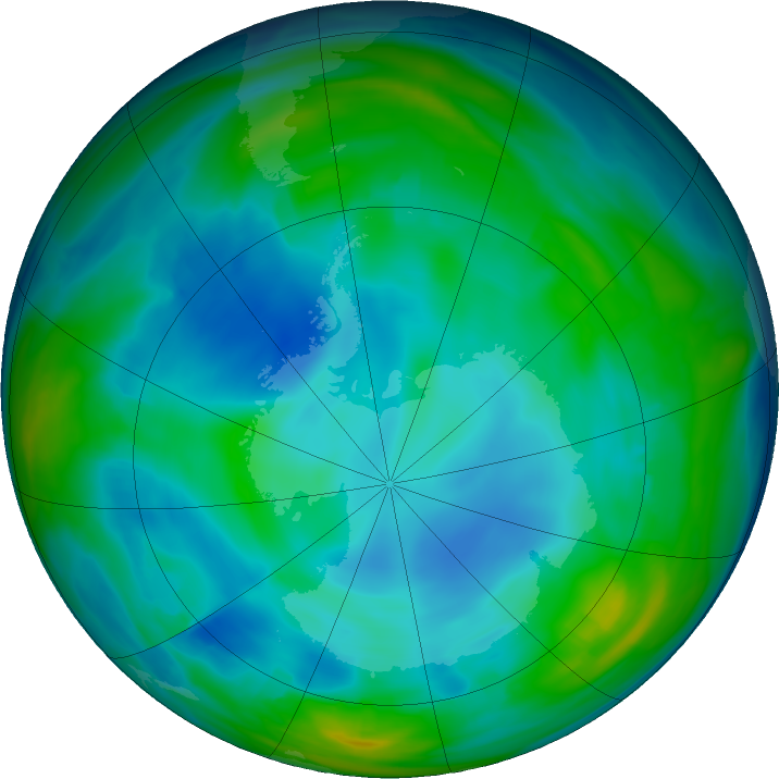 Antarctic ozone map for 01 July 2019
