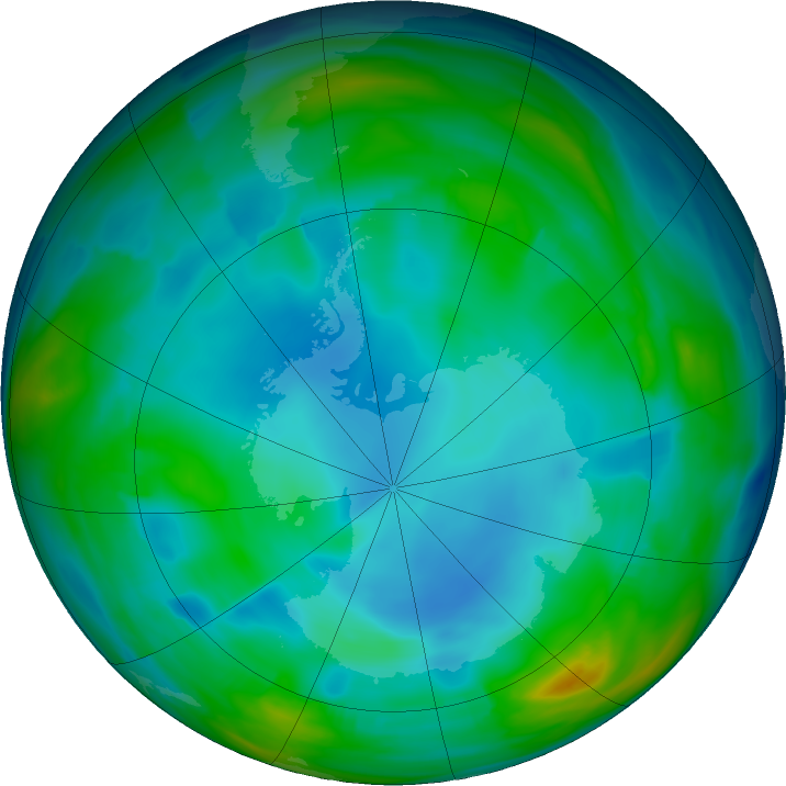 Antarctic ozone map for 02 July 2019