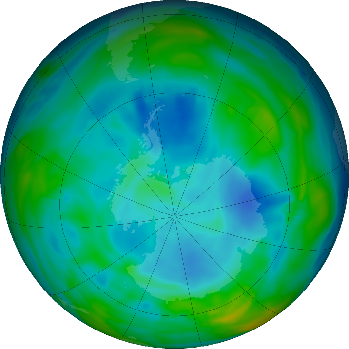 Antarctic ozone map for 03 July 2019