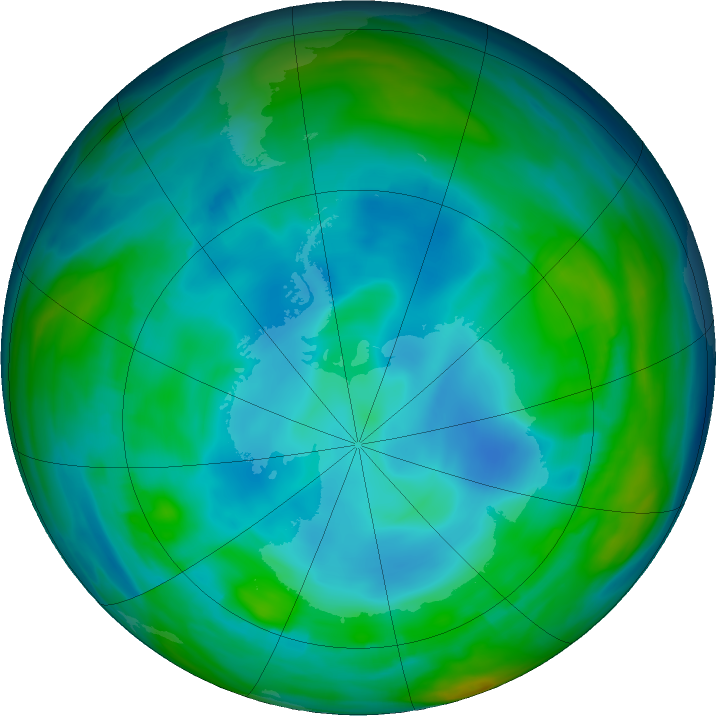 Antarctic ozone map for 04 July 2019