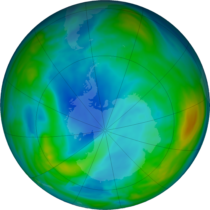 Antarctic ozone map for 07 July 2019