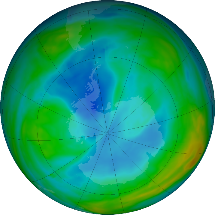 Antarctic ozone map for 10 July 2019