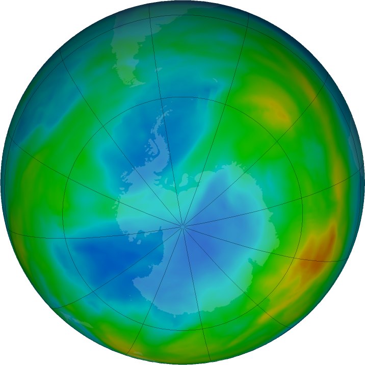 Antarctic ozone map for 13 July 2019