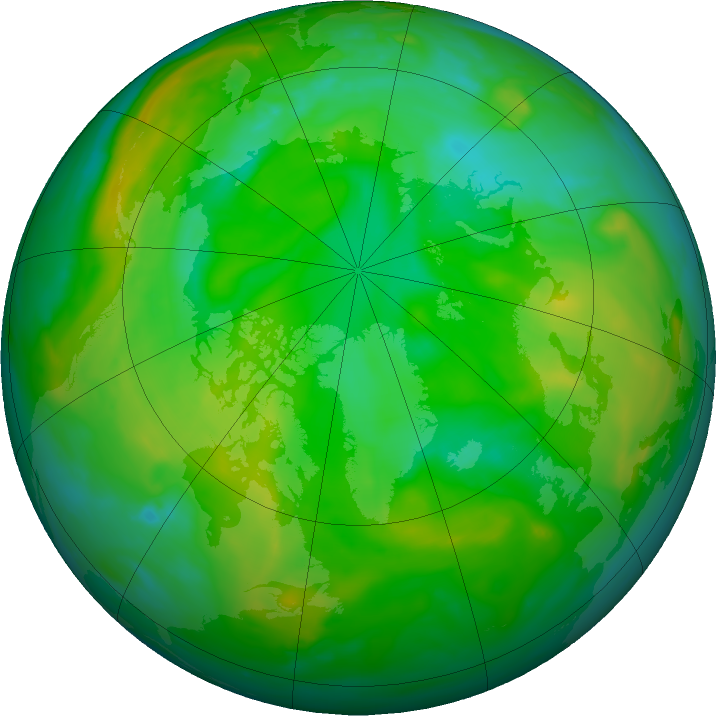 Arctic ozone map for 15 July 2019