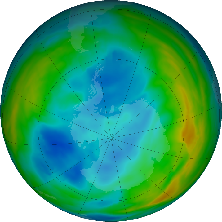 Antarctic ozone map for 16 July 2019