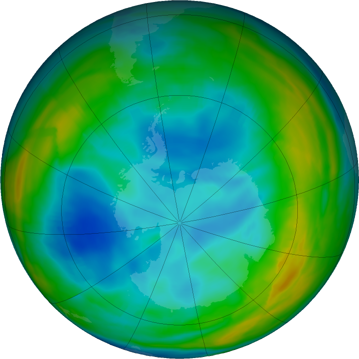 Antarctic ozone map for 17 July 2019