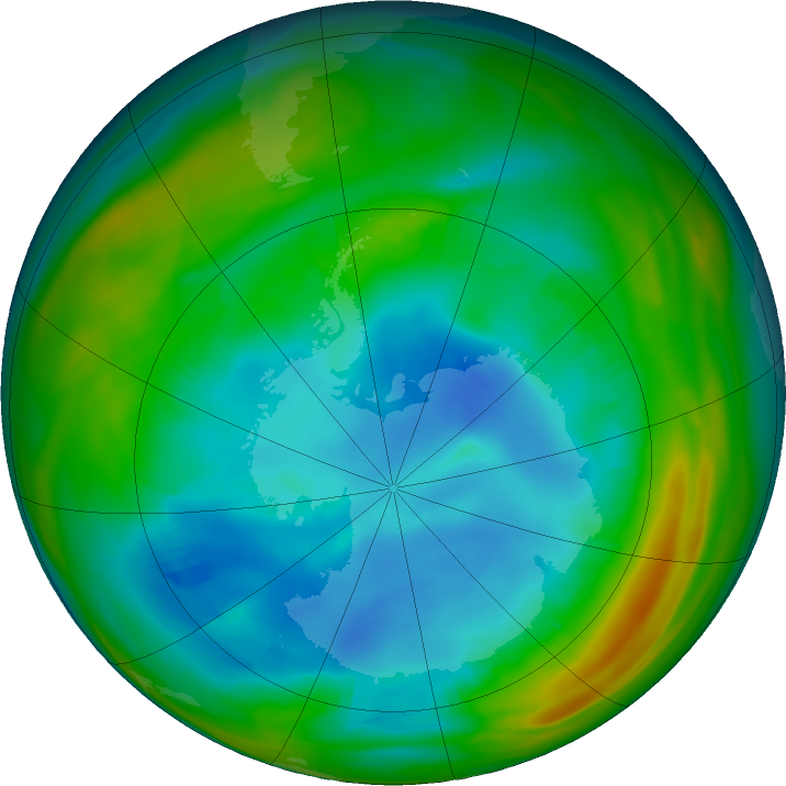 Antarctic ozone map for 29 July 2019