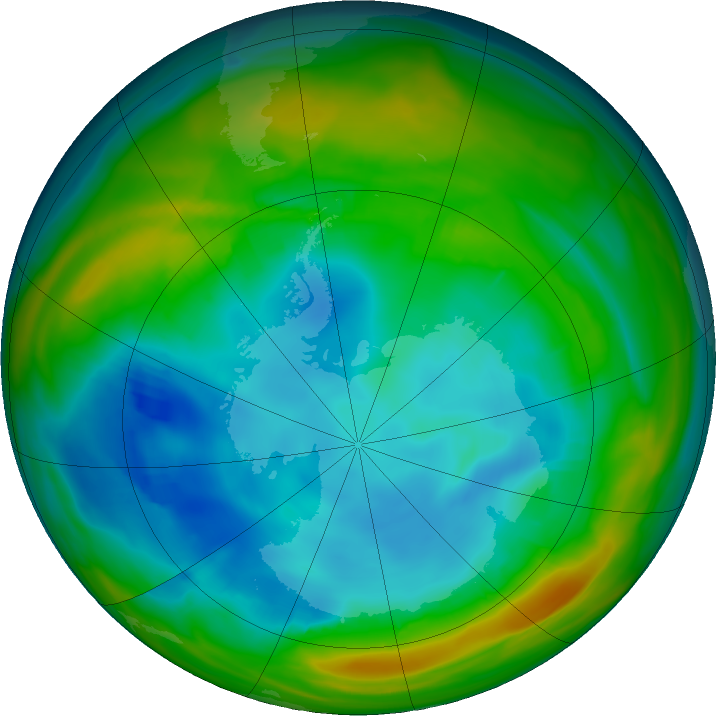 Antarctic ozone map for 31 July 2019