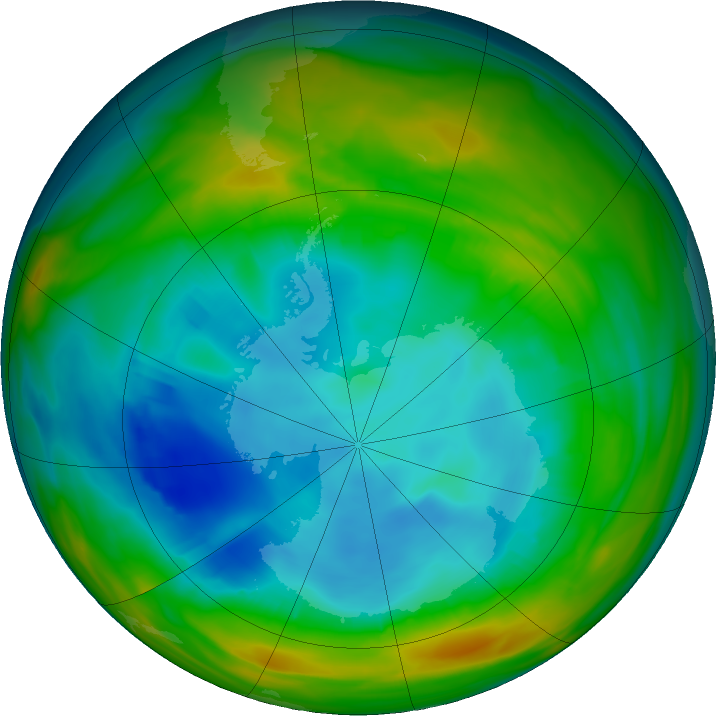 Antarctic ozone map for 01 August 2019