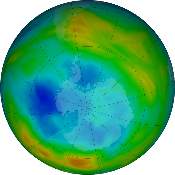 Antarctic ozone map for 02 August 2019