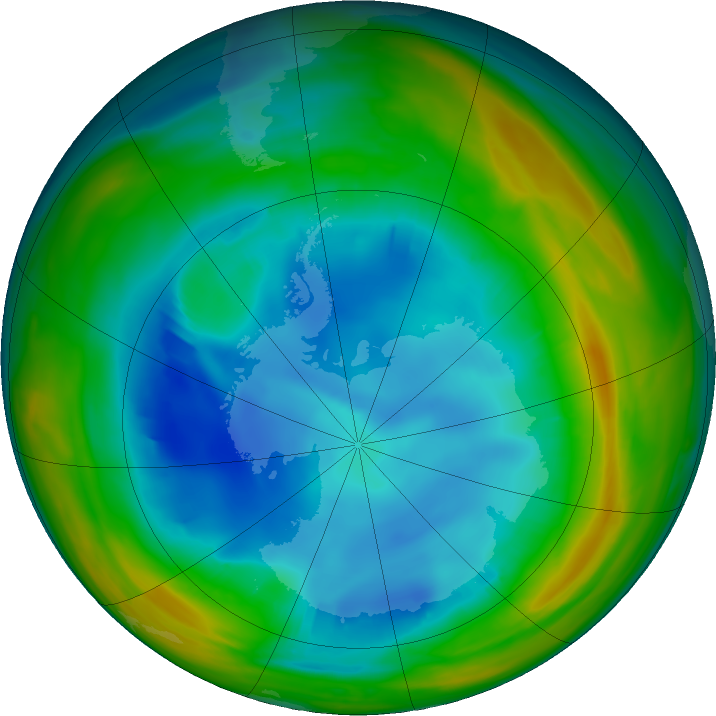 Antarctic ozone map for 04 August 2019