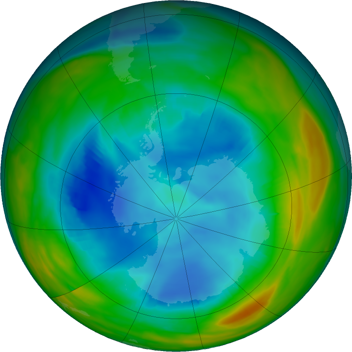 Antarctic ozone map for 05 August 2019