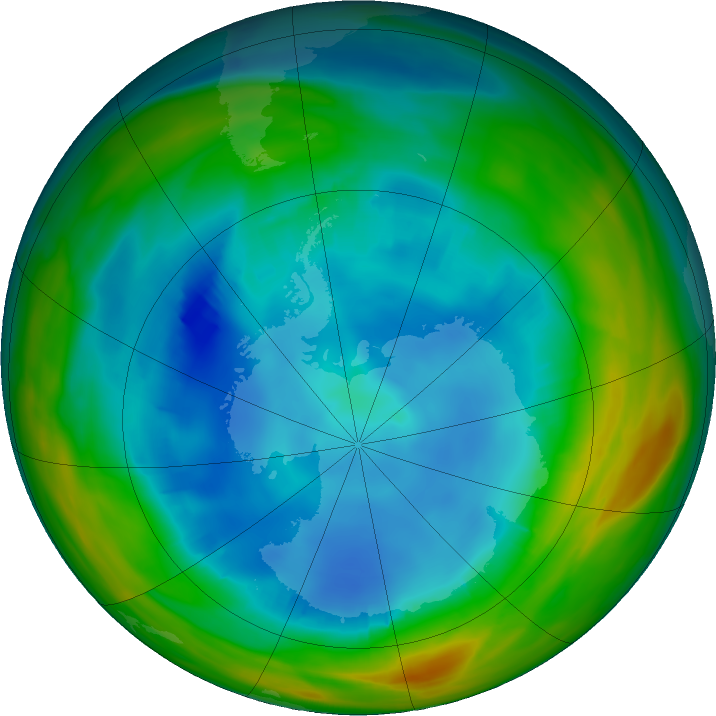 Antarctic ozone map for 06 August 2019