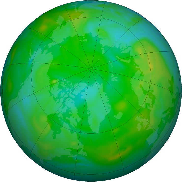 Arctic ozone map for 07 August 2019