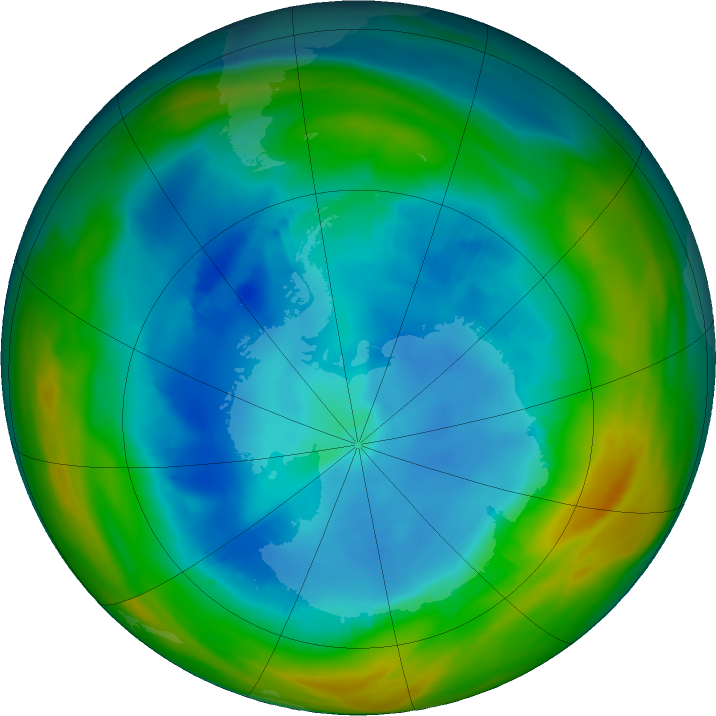 Antarctic ozone map for 07 August 2019