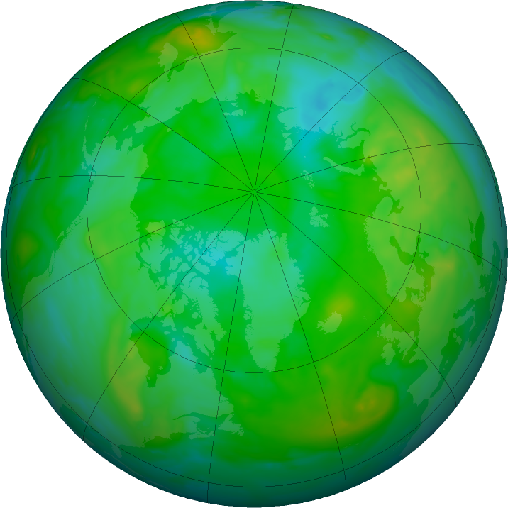 Arctic ozone map for 08 August 2019