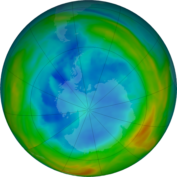 Antarctic ozone map for 08 August 2019