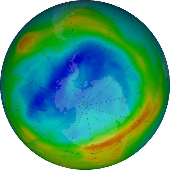 Antarctic ozone map for 13 August 2019