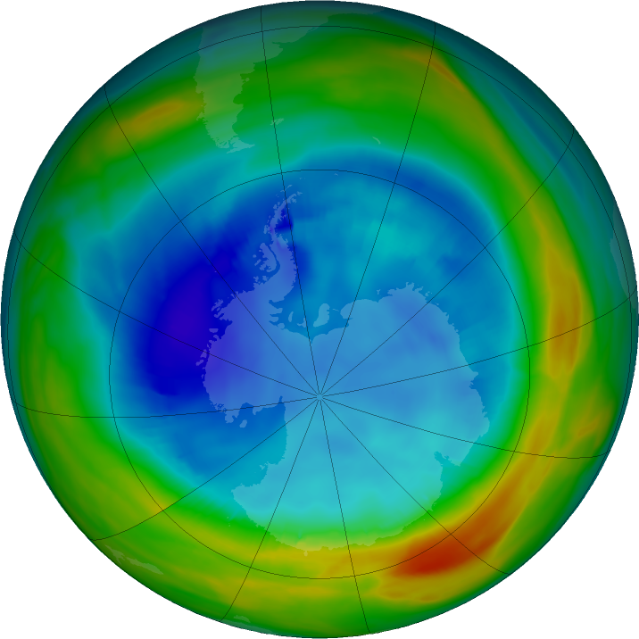 Antarctic ozone map for 15 August 2019