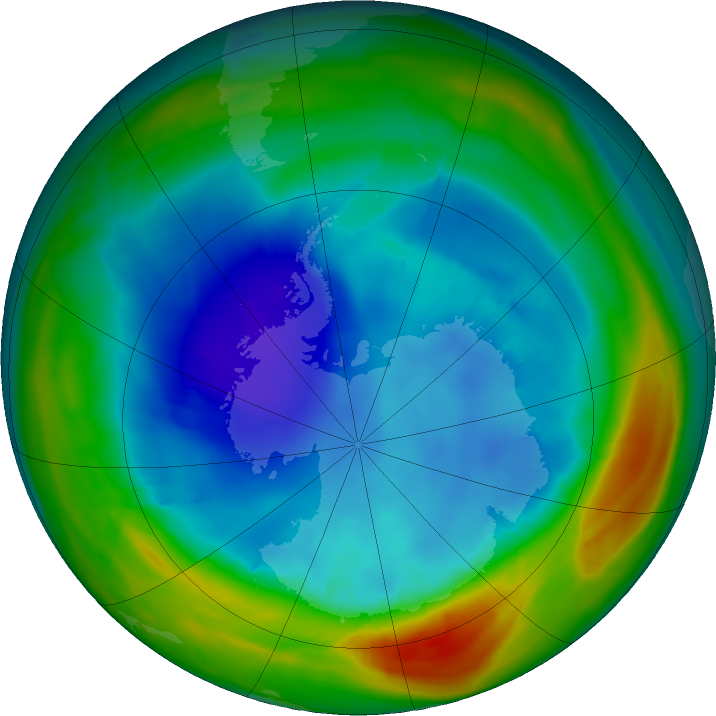 Antarctic ozone map for 16 August 2019