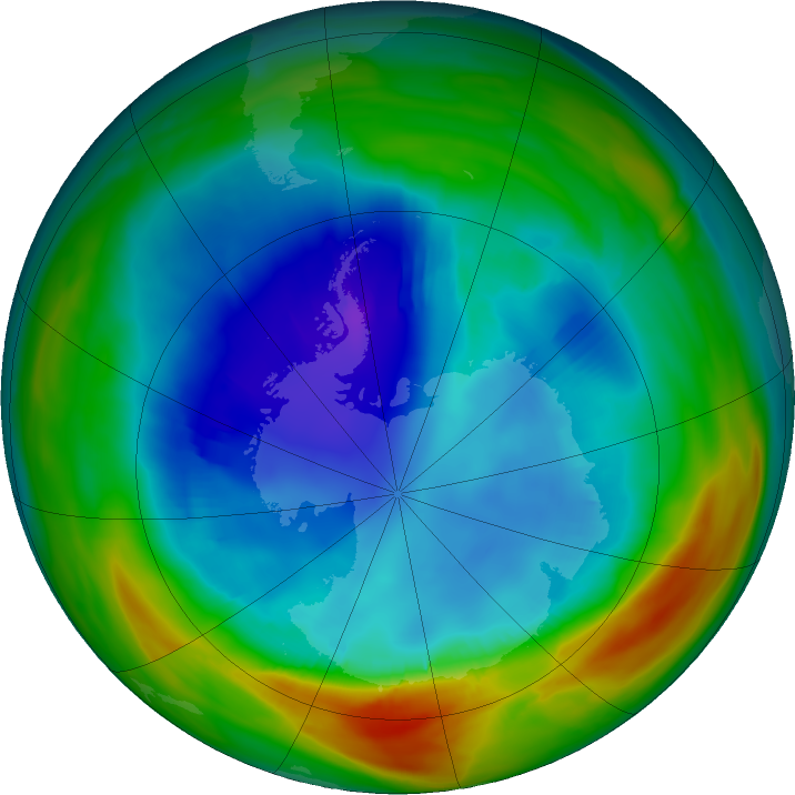 Antarctic ozone map for 17 August 2019