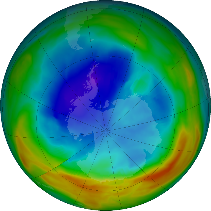 Antarctic ozone map for 18 August 2019