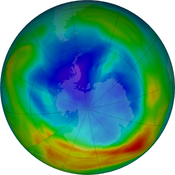 Antarctic ozone map for 20 August 2019