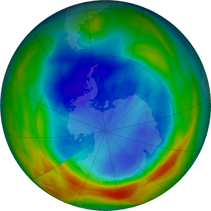 Antarctic ozone map for 22 August 2019