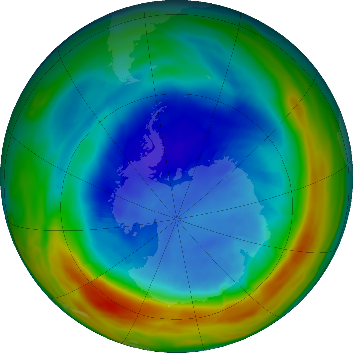 Antarctic ozone map for 29 August 2019