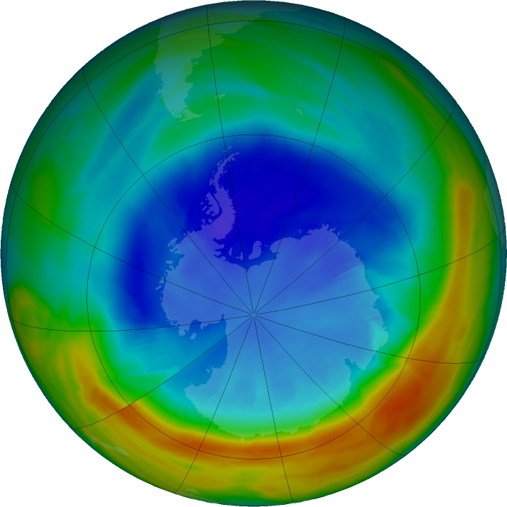 Antarctic ozone map for 30 August 2019