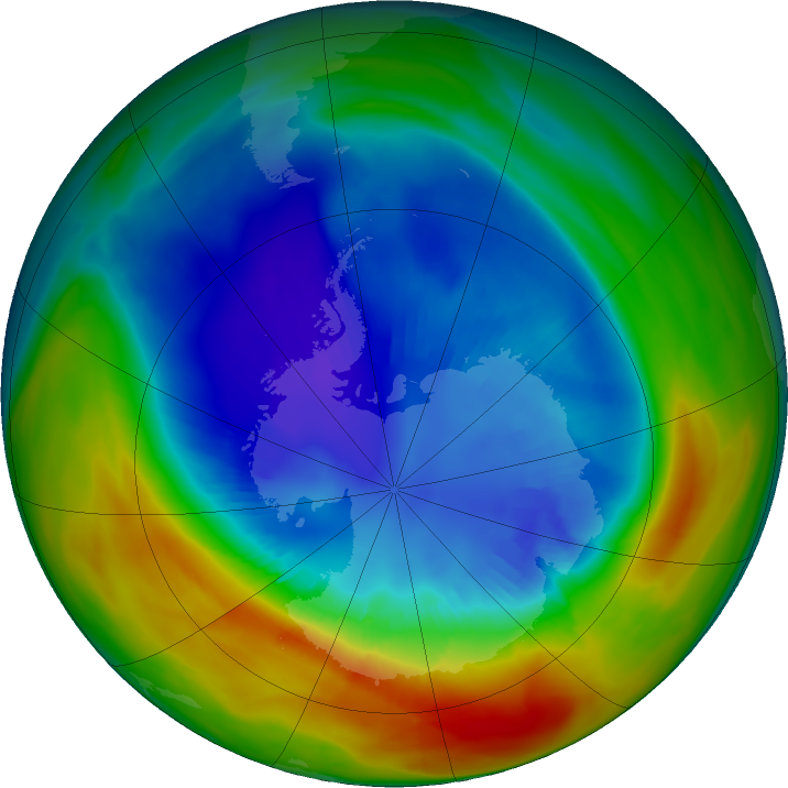 Antarctic ozone map for 02 September 2019
