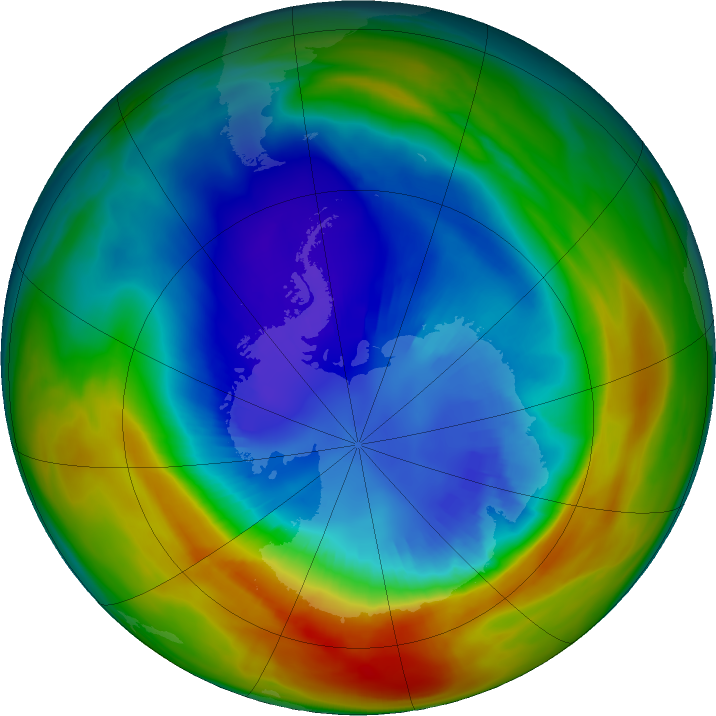 Antarctic ozone map for 03 September 2019