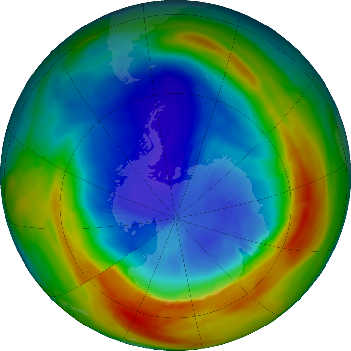 Antarctic ozone map for 04 September 2019