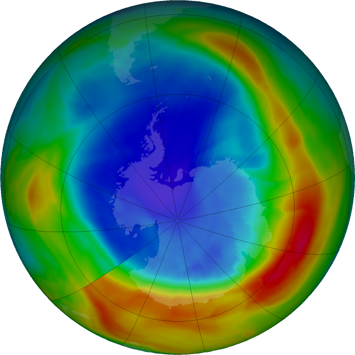 Antarctic ozone map for 05 September 2019