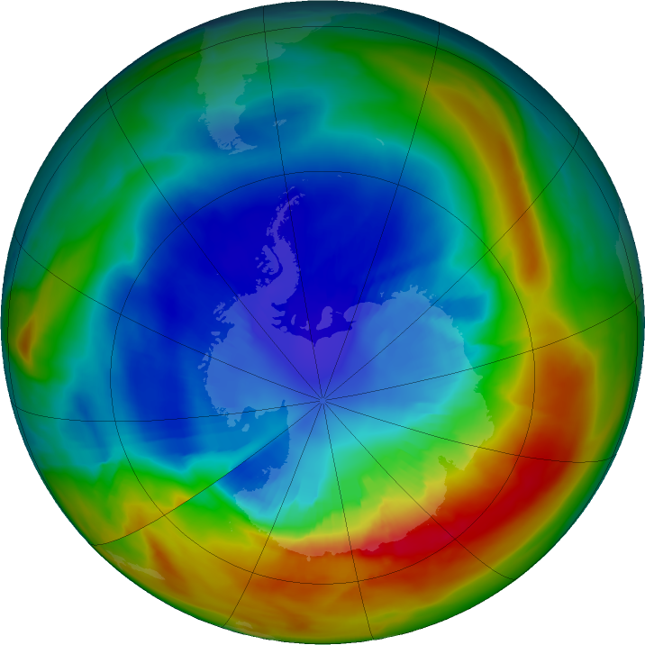 Antarctic ozone map for 06 September 2019