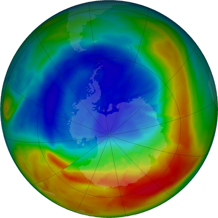 Antarctic ozone map for 07 September 2019