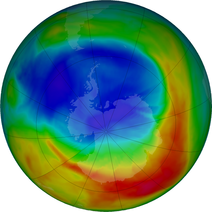 Antarctic ozone map for 08 September 2019
