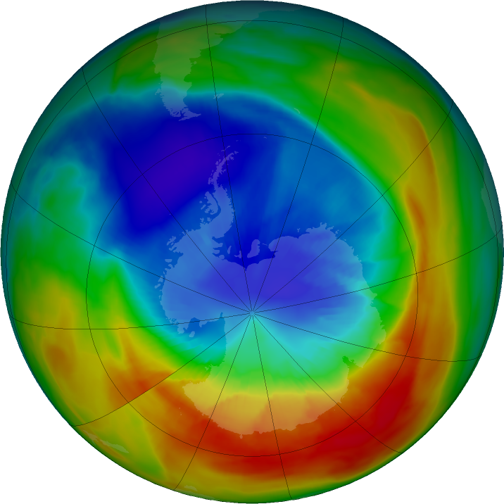 Antarctic ozone map for 09 September 2019
