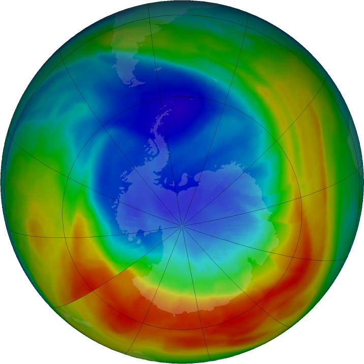 Antarctic ozone map for 10 September 2019