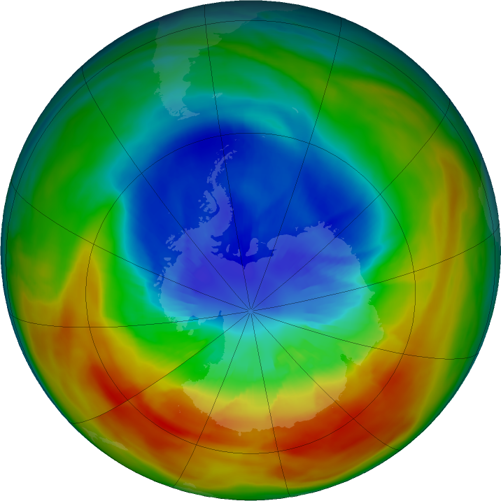 Antarctic ozone map for 12 September 2019