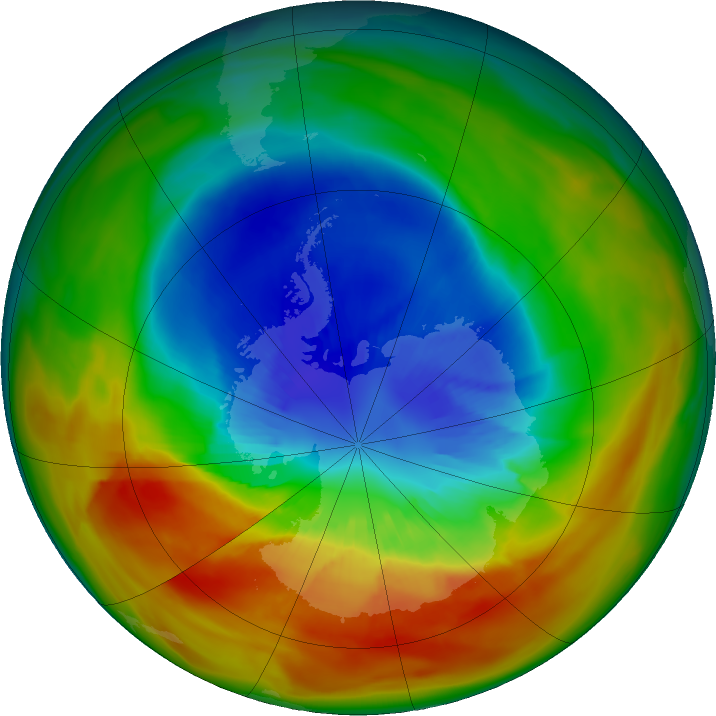 Antarctic ozone map for 13 September 2019