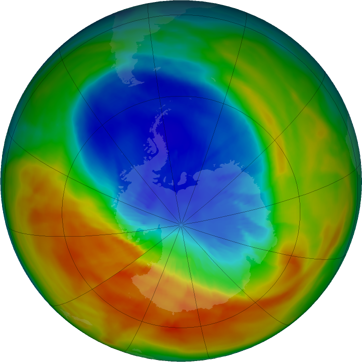 Antarctic ozone map for 14 September 2019