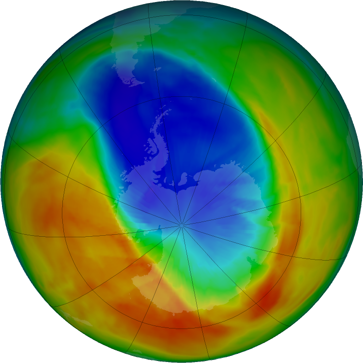 Antarctic ozone map for 15 September 2019