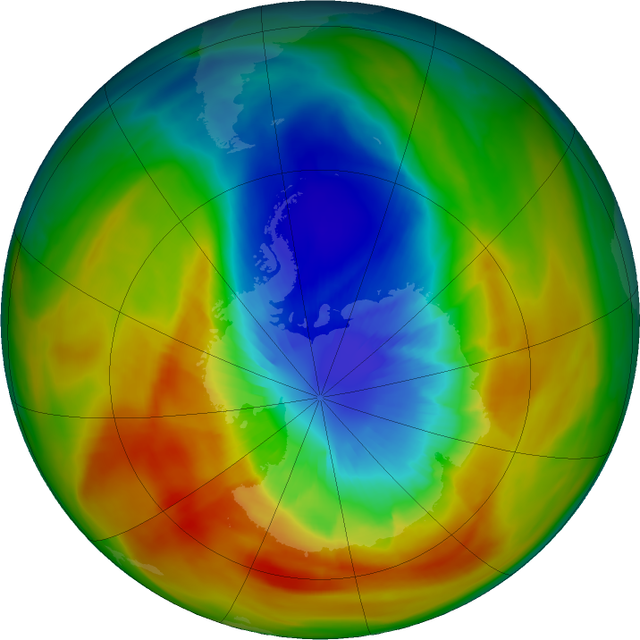 Antarctic ozone map for 17 September 2019