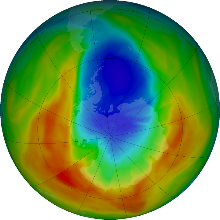 Antarctic ozone map for 18 September 2019