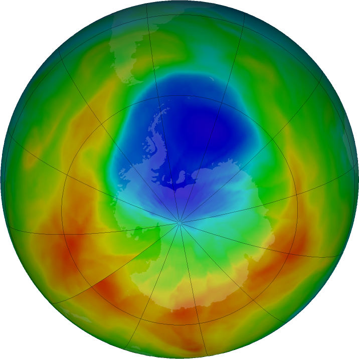 Antarctic ozone map for 19 September 2019