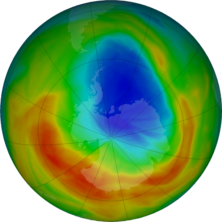 Antarctic ozone map for 21 September 2019