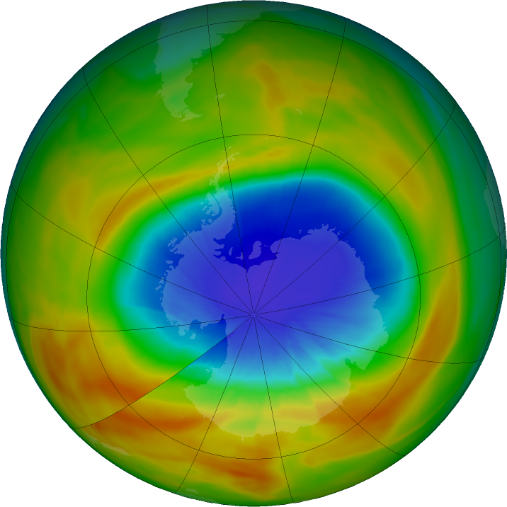 Antarctic ozone map for 26 September 2019