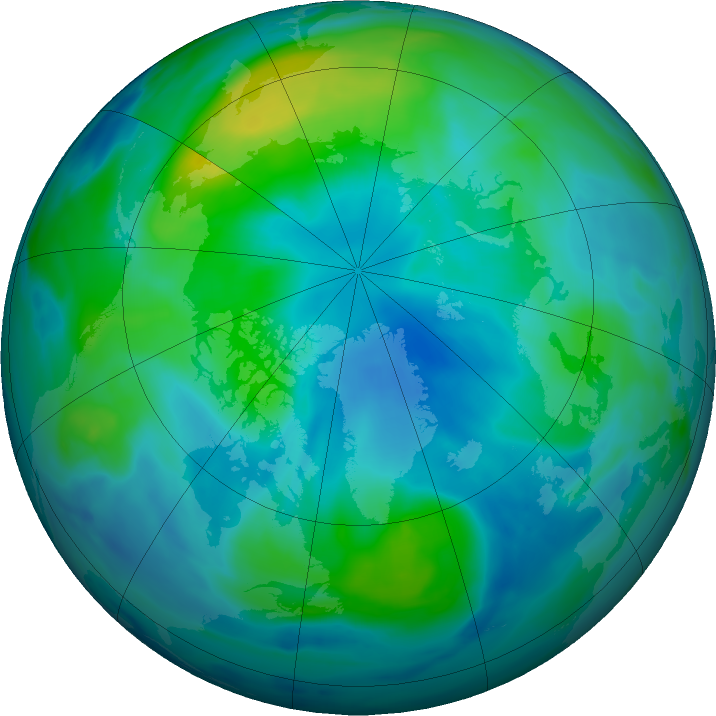 Arctic ozone map for 04 October 2019